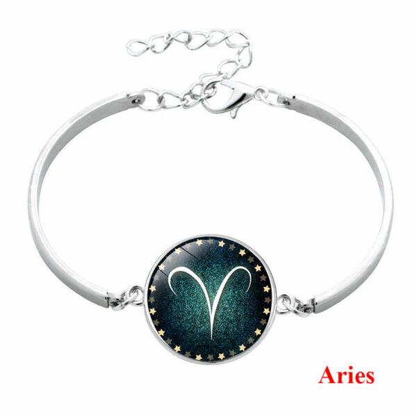 Csillagjegy karkötő, szép zöld medállal, kos (Aries)