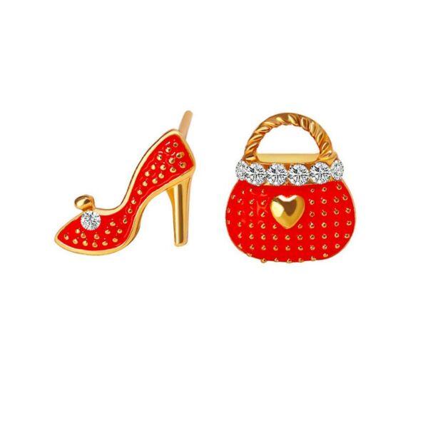 Magassarkú és táska fülbevaló, piros