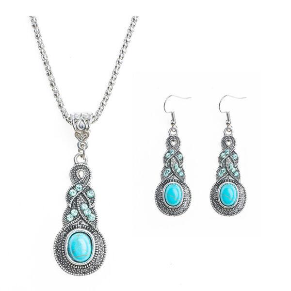 Kék rezináttal díszített nyaklánc és fülbevaló szett, török stílusban
