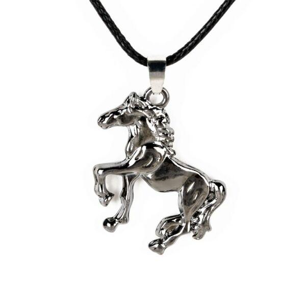 Nemesacél ló medál bőr nyaklánccal, szürke