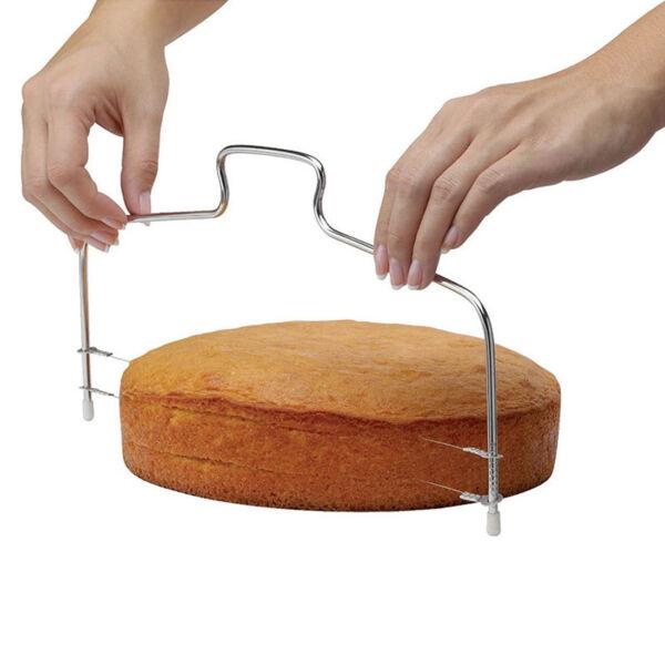 Nemesacél állítható tortavágó/szeletelő drót, tésztavágó