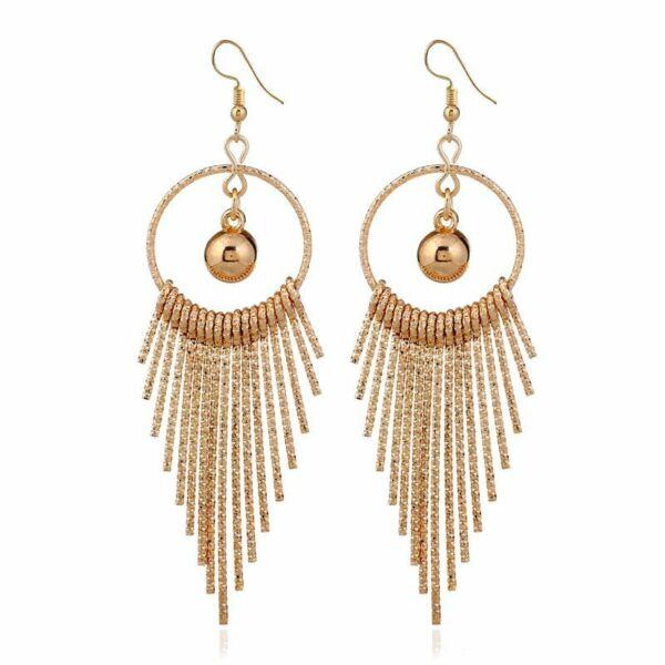 Feltűnő, divatos hosszú fülbevaló - arany színű