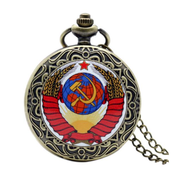 Retro nemesacél zsebóra, szovjet címerrel (sarló, kalapács), piros