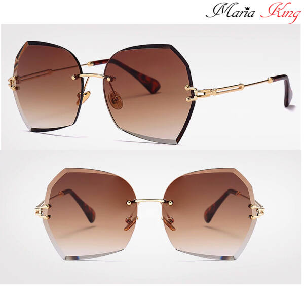 barna-arany színátmenetes női keret nélküli divat napszemüveg