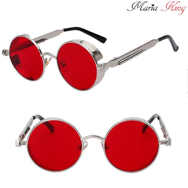 Kerek lencséjű fémkeretes uniszex napszemüveg, piros-ezüst