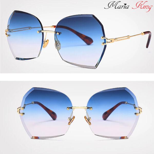 kék-arany színátmenetes női keret nélküli divat napszemüveg