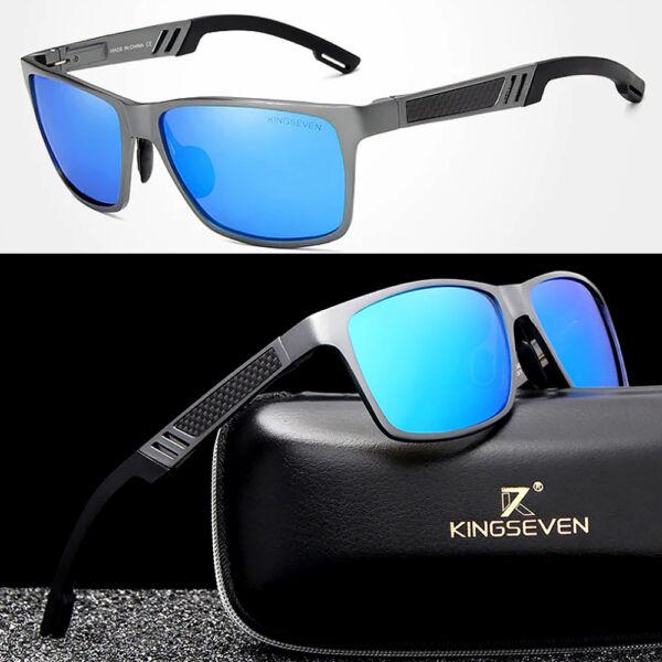 KINGSEVEN extravagáns polarizált férfi napszemüveg kék lencsével