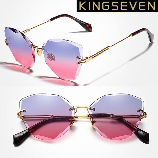 KINGSEVEN 2020-as, keret nélküli színátmenetes női napszemüveg, színes