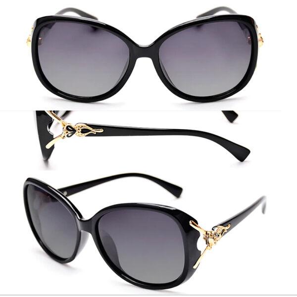 fekete keretes női napszemüveg, polarizált,