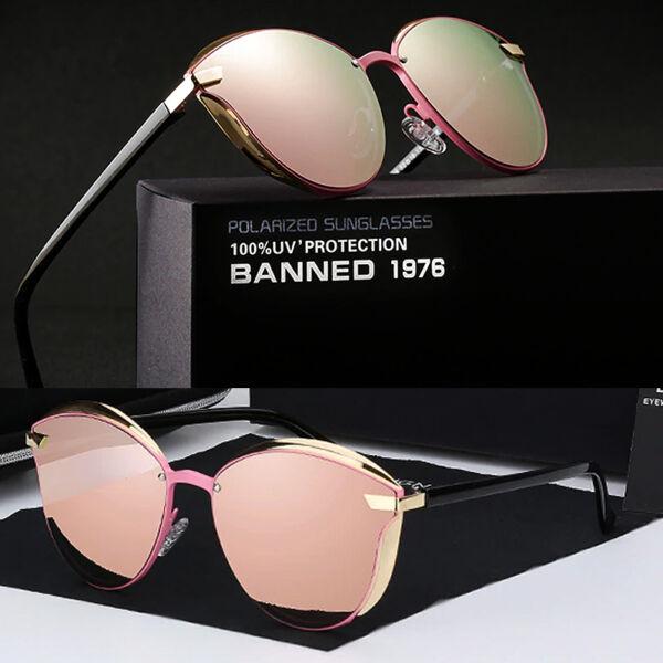 tükörlencsés női luxus napszemüveg, polarizált, rózsaszín