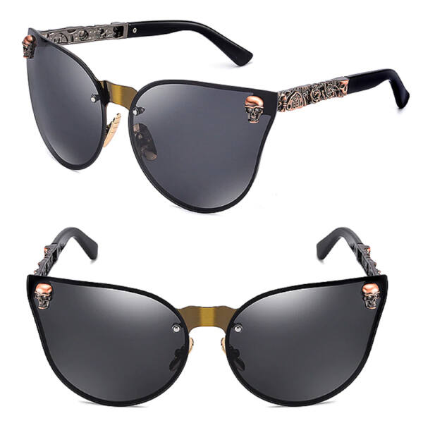 Koponya motívumos keret nélküli macskaszem női napszemüveg, szürke-arany