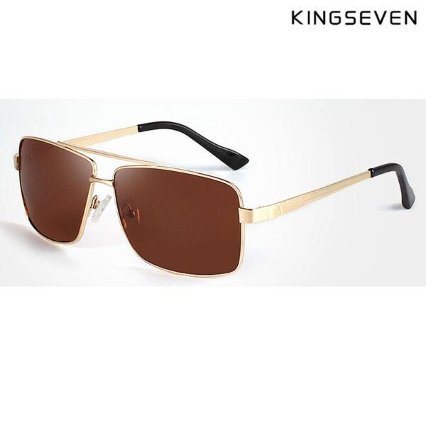 KINGSEVEN polarizált barna lencsés férfi napszemüveg arany színű kerettel