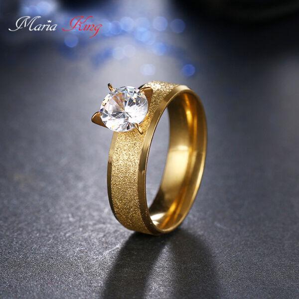 Maria King Nemesacél gyűrű cirkónium kővel, arany színű, több méretben