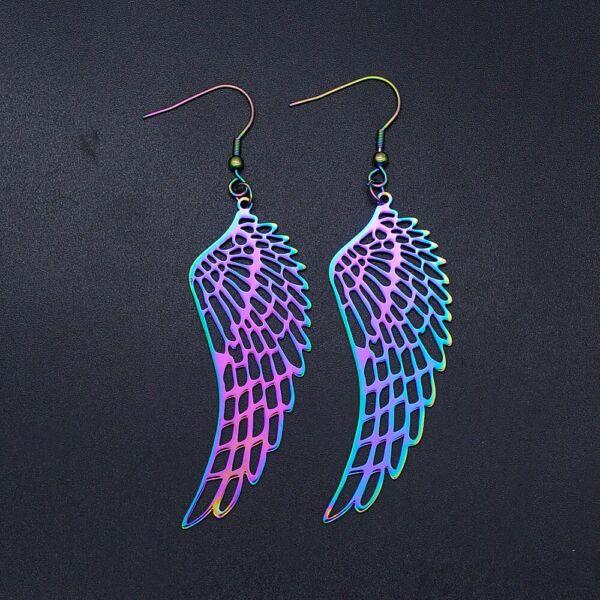 Maria King szivárvány színű angyalszárny fülbevaló, hangsúlyos - 6 cm