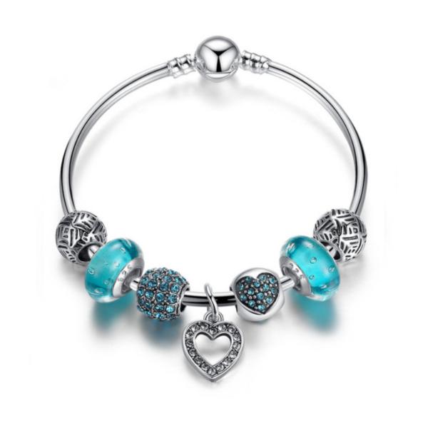 Pandora stílusú Charm karkötő szíves függővel, kék