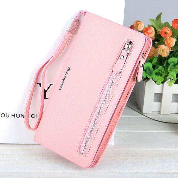 Gyönyörű dizájnbőr pink női pénztárca (20x11 cm)