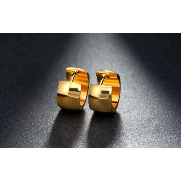 316L nemesacél beszúrós széles karika fülbevaló, arany színben