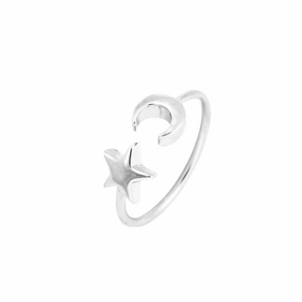Csillag és Hold állítható méretű gyűrű, ezüst színű