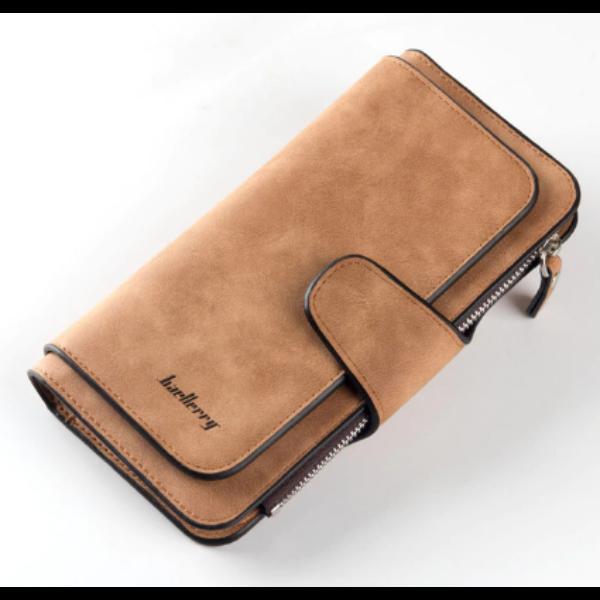 Dizájn bőr divat női pénztárca, barna (18,8x10,5 cm)