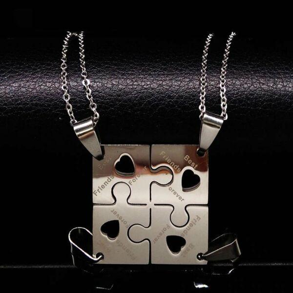 Nemesacél puzzle 'Best friends forever' négyes medál nyaklánccal