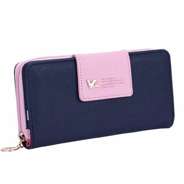 Maria King sötétkék-rózsaszín galamb motívumos női pénztárca