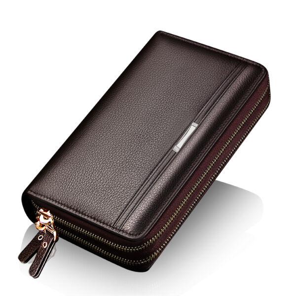 dupla cipzáras barna férfi pénztárca/