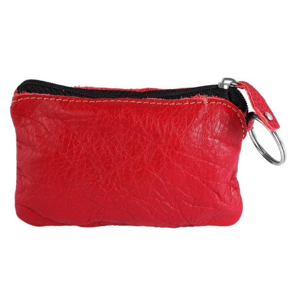 Excellanc valódi bőr érmetartó tárca, 12x8 cm - piros