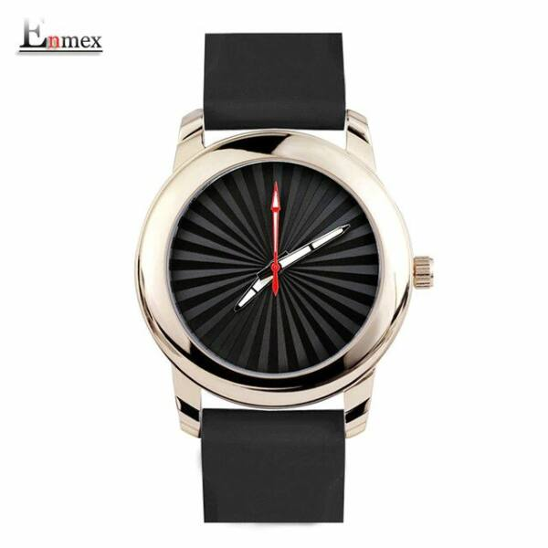 ENMEX szilikon szíjas cseppálló, ütésálló uniszex karóra, arany színű óratokkal