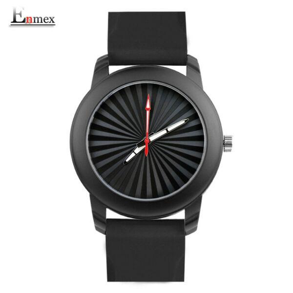 ENMEX szilikon szíjas cseppálló, ütésálló uniszex karóra, fekete óratokkal