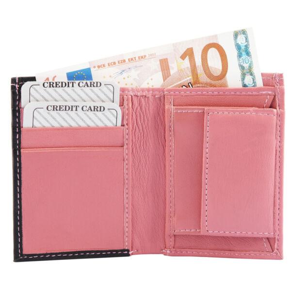 Valódi bőr uniszex mini pénztárca, pink, Excellanc