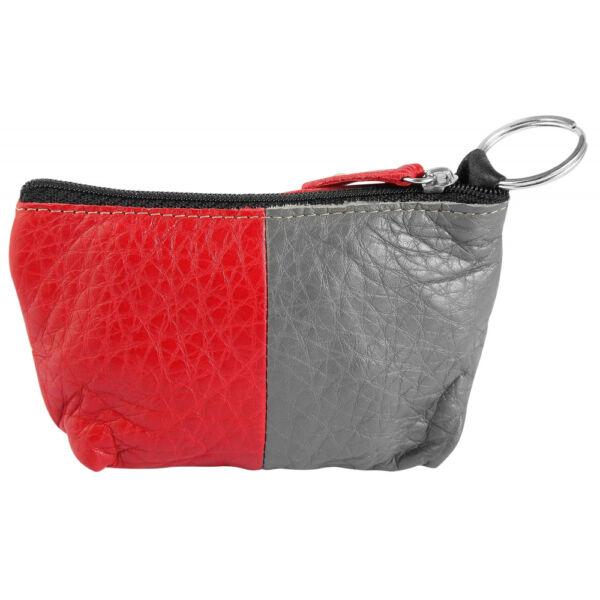 Excellanc valódi bőr érmetartó tárca, 12x8 cm - szürke-piros