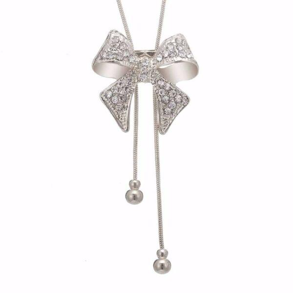 From Maria King Ezüst színű hosszú Statement nyaklánc csillogó masni medállal