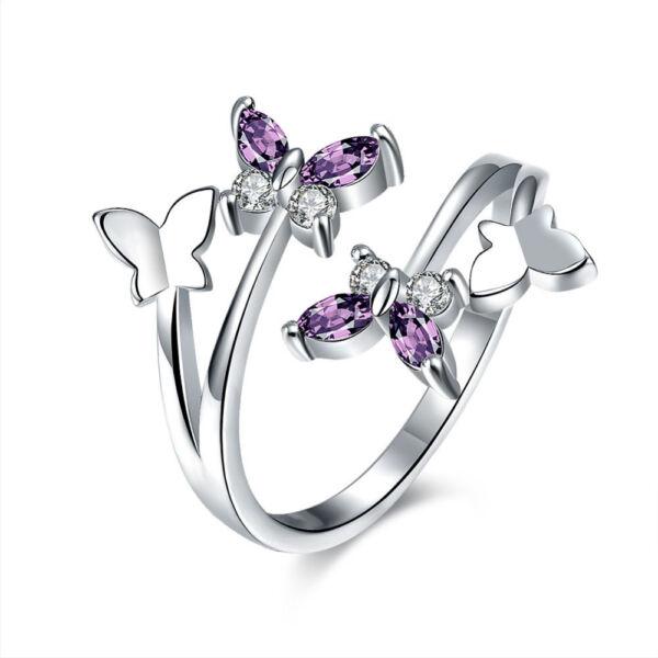 Pillangó motívumos állítható méretű gyűrű lila cirkóniummal