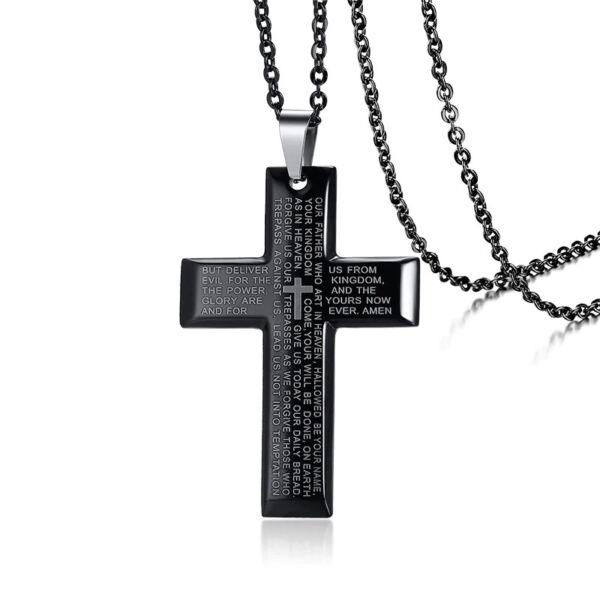 Fekete nemesacél kereszt és ima medál nyaklánccal, 50 cm, prémium