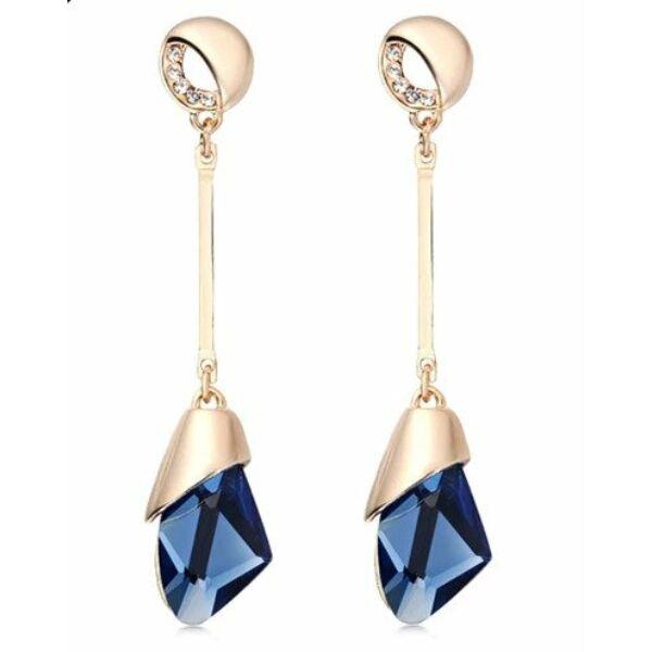 geometrikus kék kristályos látványos fülbevaló