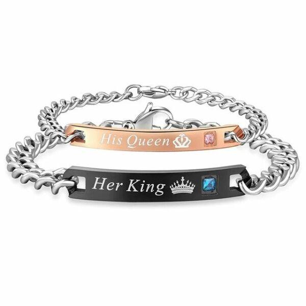 Nemesacél His Queen - Her King páros karkötő