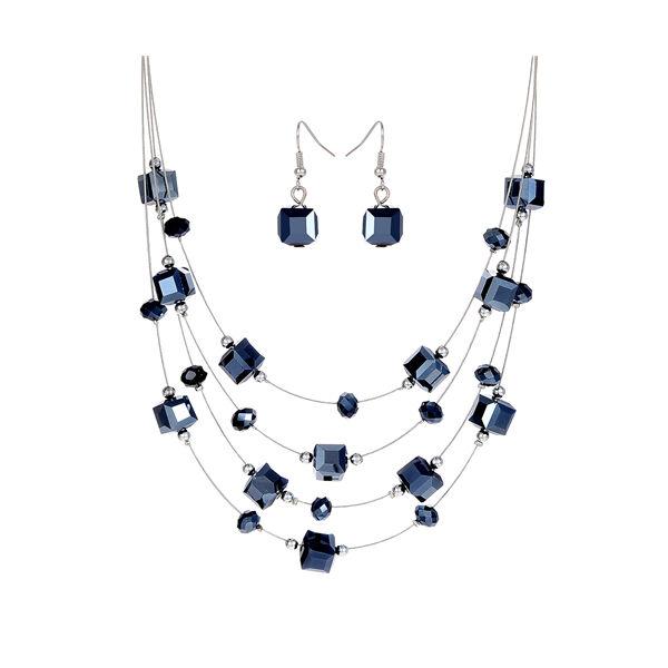 From Maria King afrikai gyöngy többsoros nyaklánc fülbevalóval, kék
