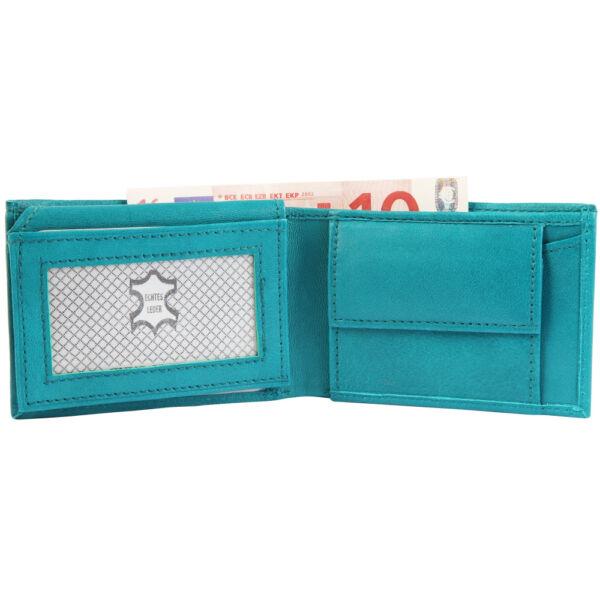 Valódi bőr pénztárca, 10,5x7 cm - kék