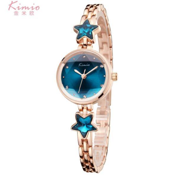 KIMIO nemesacél kék kristálycsillagos karóra, cseppálló, ütésálló