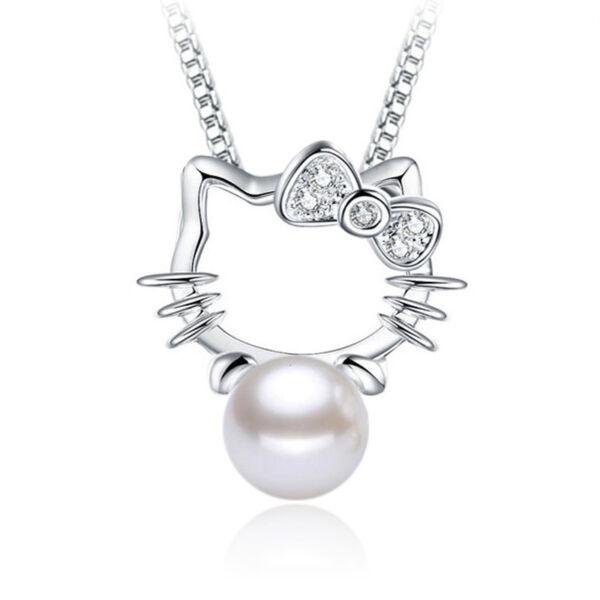Mesterséges gyöngy cicás jellegű medál nyaklánc nélkül, ezüstözött