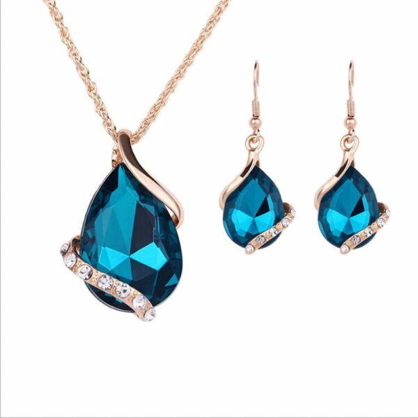 Hangsúlyos kristály nyaklánc és fülbevaló szett, kék