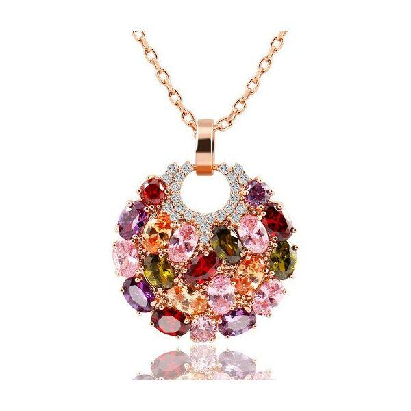 Extravagáns színkavalkád kristály medál nyaklánccal