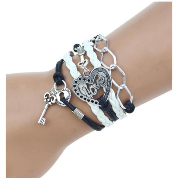 Többrétegű fonott szíjas karkötő szív, kulcs és LOVE felirat motívumokkal, fekete-fehér