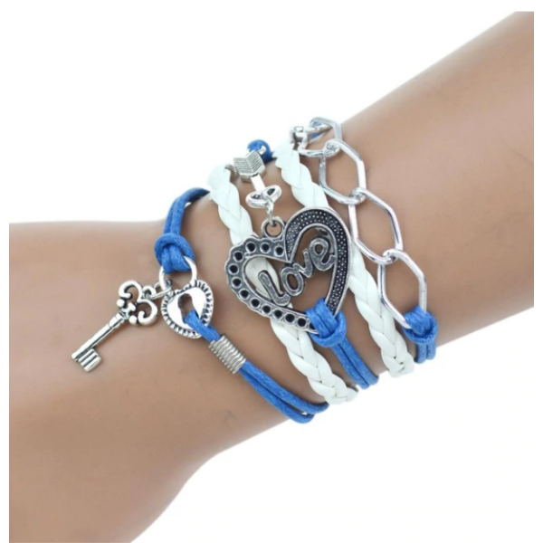 Többrétegű fonott szíjas karkötő szív, kulcs és LOVE felirat motívumokkal, kék-fehér