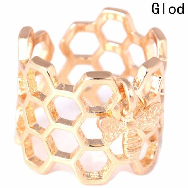 Méhecske és kaptár motívumos nemesacél gyűrű, állítható méret - arany színű