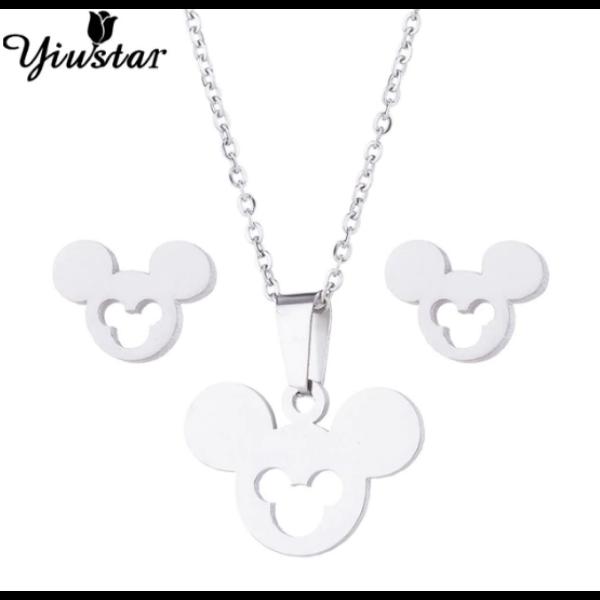 Nemesacél Mickey egér motívumos fülbevaló és nyaklánc szett, ezüst színű