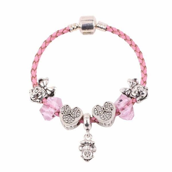 Pandora stílusú Minnie egér charm bőr karkötő, 18 cm