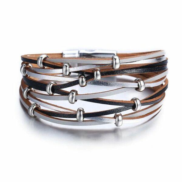 Többrétegű bőr és fémötvözet karkötő, fekete-ezüst