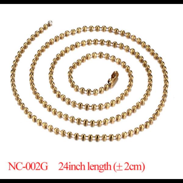 Elegáns nemesacél nyaklánc, arany színű, 60 cm
