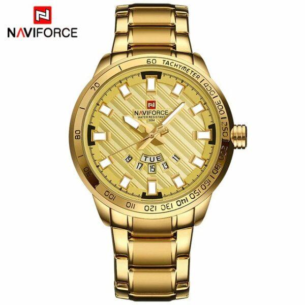 Naviforce arany színű cseppálló, ütésálló luxus férfi karóra, nemesacél